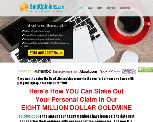 Gold Opinions – Online Paid Surveys
